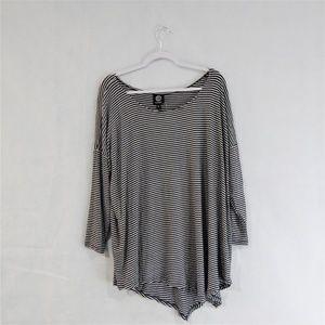 Bobeau 3/4 Sleeve Striped Shirt